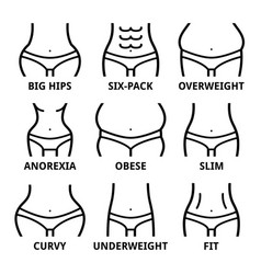 female body shape - fit big hips obese overweig vector image vector image