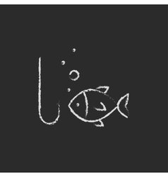 Fish with hook icon drawn in chalk vector