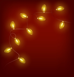Glowing Christmas lights on red vector image vector image
