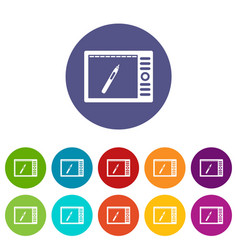 Graphics tablet icons set flat vector