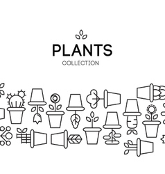 icons of pot plants garden vector image