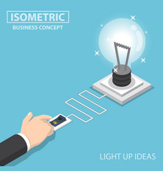 Isometric businessman hand pushing switch to turn vector