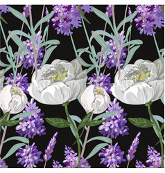 Lavender and peony with leaves seamless pattern on vector