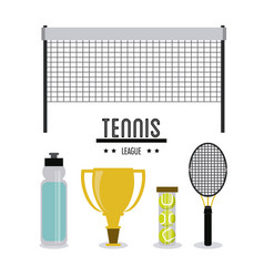 League and icon set of tennis sport vector