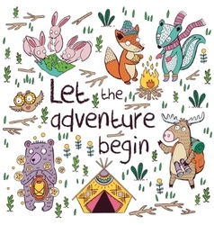 Let the adventure begin hand drawn camping vector