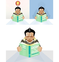 Man reading a book concept vector