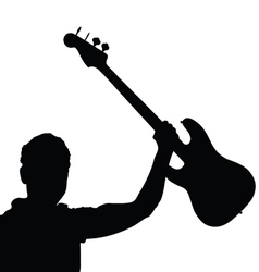 man with guitar black vector image vector image