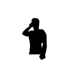 man with mobile silhouette vector image