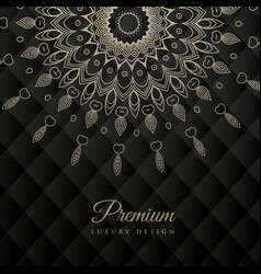 Mandala design round ornament pattern on black vector