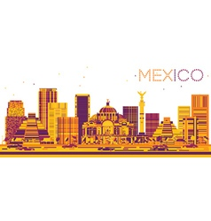 Mexico Skyline with Color Buildings vector image
