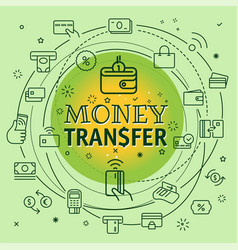 money transfer concept different thin line icons vector image