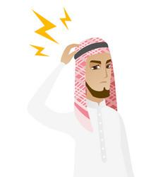 Muslim businessman with lightning over head vector