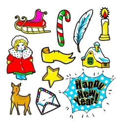 New year stickers pins patches in cartoon 80s vector