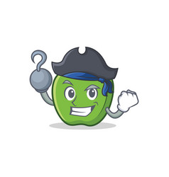Pirate green apple character cartoon vector