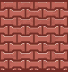 Red concrete h shaped paving slabs surface vector