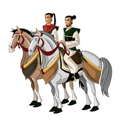 Samurai warriors riding horses designed on sunset vector