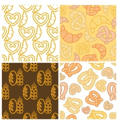 Seamless assorted bakery background pattern vector