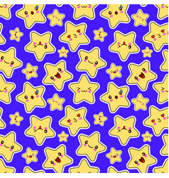 seamless pattern with smiley kawaii stars vector image vector image