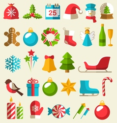 Set of christmas flat icons isolated on beige vector