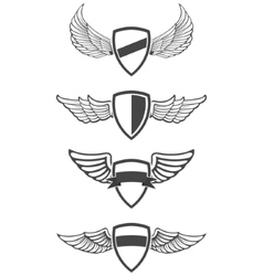 Set of emblem templates with wings vector image