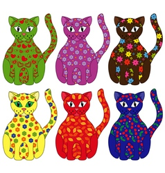 Set of six stylized cats vector image vector image