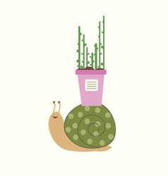 Snail with flower pot vector