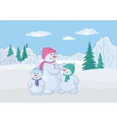 snowmen family vector image vector image