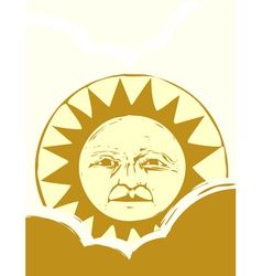 Sun face and clouds vector