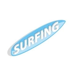 Surfing word on a surfboard icon vector image vector image
