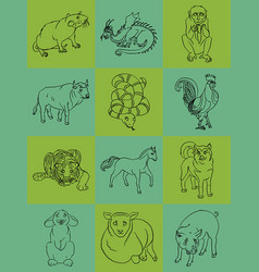 Twelve animals of the chinese horoscope vector