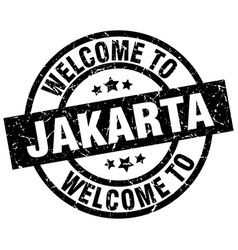 Welcome to jakarta black stamp vector