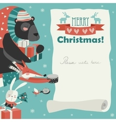 Cute animals giving presents vector