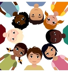 Peace children of different ethnicity friendship vector