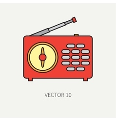 Line flat icon with retro electrical audio vector