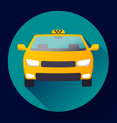 Flat taxi car icon flat design vector