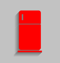 Refrigerator sign   red icon vector
