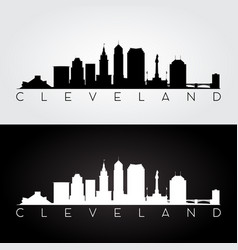 cleveland usa skyline and landmarks silhouette vector image