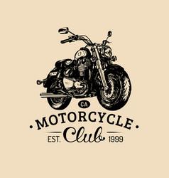 Biker club logo hand drawn motorcycle for vector