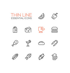 Kinds of food line icons set vector