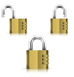 Brass open and closed isolated padlock vector