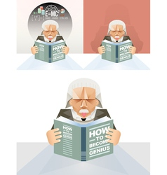 Old man reading a book education concept vector