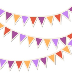 Set of multicolored flat buntings garlands vector