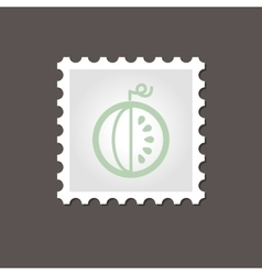 Watermelon stamp outline vector