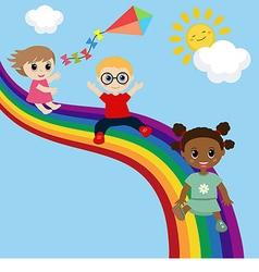 Children slide down on a rainbow vector