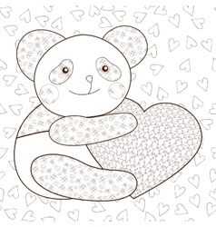 Panda with heart kid coloring book page vector