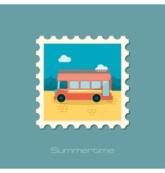 Double decker open top sightseeing city bus stamp vector
