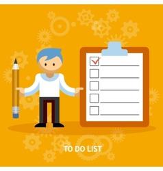 Businessman cartoon character with checklist vector