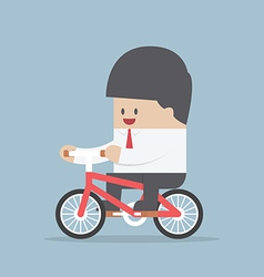 Businessman riding a bicycle to work vector