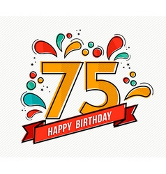 Colorful happy birthday number 75 flat line design vector image