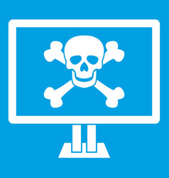 Computer monitor with a skull and bones icon white vector